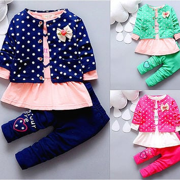 baby girl suit clothes coat+Dress+pant 3pcs infant girl clothing set