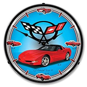 "Collectable Sign and Clock GMRE1010272 14"" C5 Corvette History Lighted Clock"