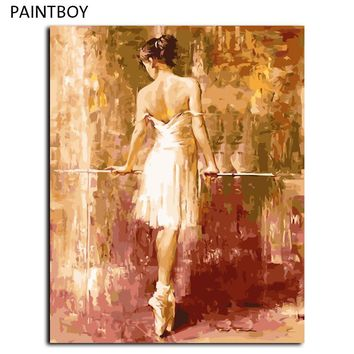 Balle Girl Frameless Picture Painting By Numbers Wall Art DIY Digital Canvas Oil Painting Home Decor For Living Room G237