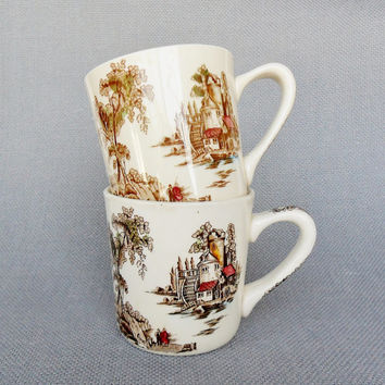 Vintage Transfer Ware Mugs Johnson Bros The Old Mill English Cottage Style Coffee Cups English China