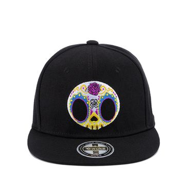 Colorful Skull Embroidery Snapback Hat