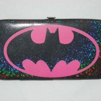 Batman Logo Wallet Batgirl Hot Pink Holographic Glitter DC Comics Geek Nerd Cute