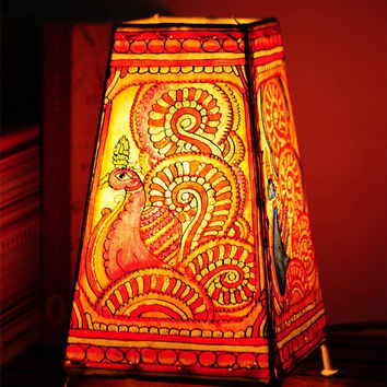 Hand drawn and painted leather lamp shades