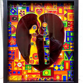Loving couple Glass painting Abstract art Panel
