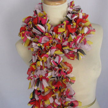Graphic Design Scarf, Ruffle Scarf, Knit Scarf, Hand Knit Scarf, Fashion Scarf, Red, Yellow, Pink,  Fiber Art, Gift For Her, Mother's Day