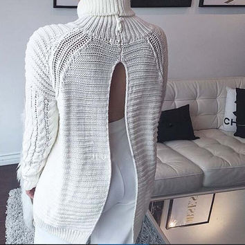 White Cut-Out Sweater