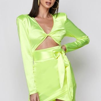 Single AF Satin Bodycon Mini Dress Neon Yellow