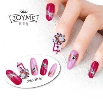 Hot Sale 24 pcs 3d False Nails Decoration Dimond With Glue Full Nail Tips Long Fake Nail Decorated Party Wedding Adhesive