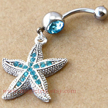 starfish Belly Button Rings, starfish belly button Jewelry, nautical jewelry
