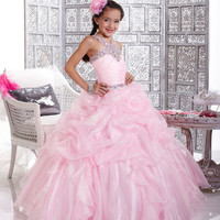 Halter And Pleated Bodice Long Girls Pageant Dress Tiffany Glitz 33423