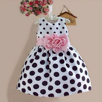 Summer Child Girl Dresses Kid Toddler Princess Dress Sleeveless Polka Dots Bowknot Dress