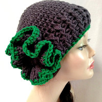 Crochet Flower Hat. Gray and Paddy Green