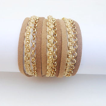 2 Shades of brown Suede cords, A brown Cotton Cord Macrame and A Pea Gold Plated Chain - 3X Wrap Bracelet