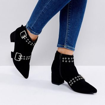 Truffle Collection Wide Fit Buckle Trim Boot at asos.com