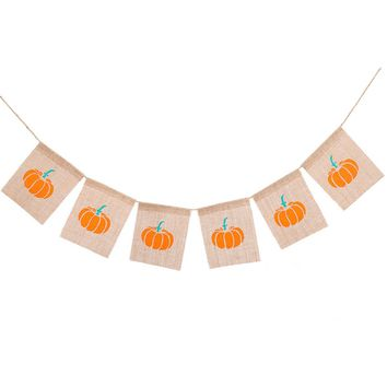 1pcs Pull Flags Linen Decorative 2M Pumpkin Hanging Creative Bunting Banners Pull Flowers for Decorations Halloween
