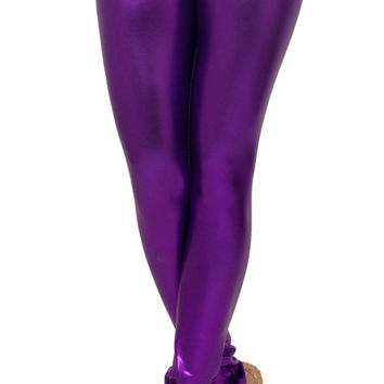 Silver Wet Look Leggings Design 164