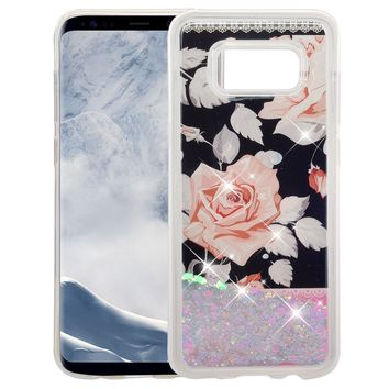 Galaxy S8 Case, Samsung Galaxy S8 Luxury Bling Liquid Glitter Case, Sparkle Quicksand Case Cover - White Roses