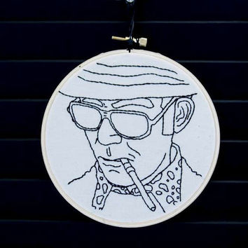 Hunter S Thompson Embroidered Wall Art by AllNightDiner on Etsy