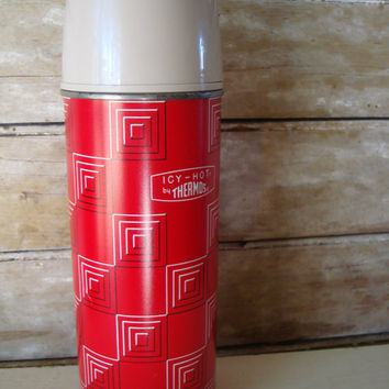 Vintage Thermos Icy Hot Red and White Hartford Conn