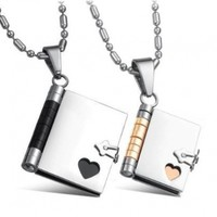 "His and Hers Matching Necklaces ""Love Story"" Book Pendants Set (Writable Pages) Sharpie Not Included"