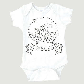Pisces Zodiac Onesuit | February 20-March 20 | Horoscope | Newborn Baby | Unique | 0007