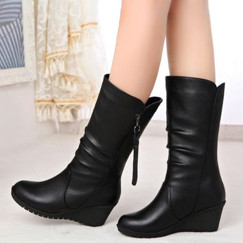 On Sale Hot Deal Cotton Winter With Heel Zippers Wedge Boots [9257017292]