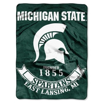 Michigan State Spartans NCAA Royal Plush Raschel Blanket (Rebel Series) (60x80)