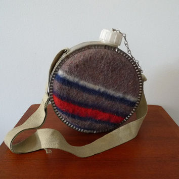 Vintage Camp Canteen with Aluminum Frame, Striped Wool Blanket Insulation and Canvas Adjustable Strap, Seventies