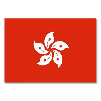 Patriotic table card with Flag of Hong Kong