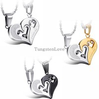 Pendant Necklaces - Engraved I Love You Matching Hearts Necklace Couple Set - CZ Crystal, Stainless Steel