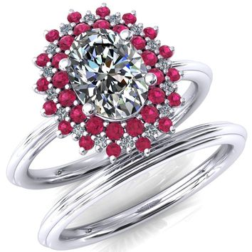 Eridanus Oval Moissanite Cluster Diamond and Ruby Halo Wedding Ring ver.3