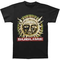 Sublime Men's  Distressed Sun Within Circle Slim Fit T-shirt Black
