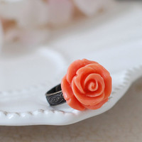 Coral Orange hand Sculpted Flower Ring. Antique Brass Engraved Adjustable Flower Cocktail Ring. Victorian Bridal Bridesmaids Accessory