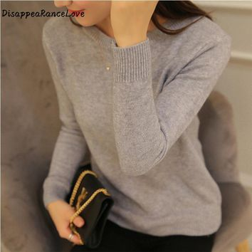 DisappeaRanceLove Brand 2017 Autumn women top short design pullover o-neck sweater female long-sleeve slim thickening sweater