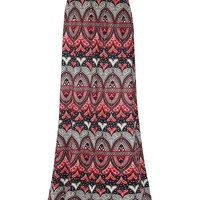 Casual Dramatic Tribal Printed Flared Maxi Skirt