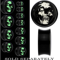 Dark Skull Glow in the Dark Saddle Plug in Black Acrylic