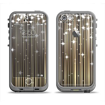 The Gold & White Shimmer Strips Apple iPhone 5c LifeProof Fre Case Skin Set
