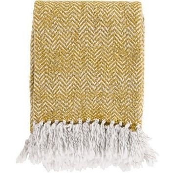 Zag Gold Yellow Knit Throw