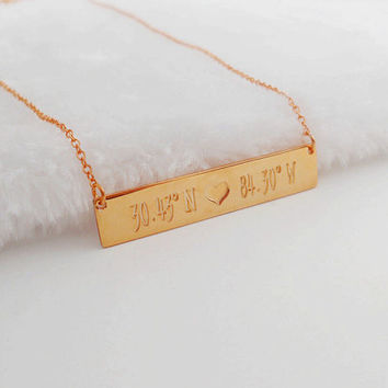 Bar Necklace Rose Gold, Latitude longitude Bar Necklace,Engraved Coordinates  Necklace,Personalized Bar Jewelry,Custom Bar Necklace