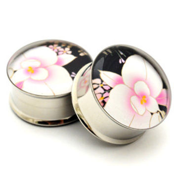 Japanese Flower Picture Plugs gauges - 16g, 14g, 12g, 10g, 8g, 6g, 4g, 2g, 0g, 00g, 1/2, 9/16, 5/8, 3/4, 7/8, 1 inch STYLE 9