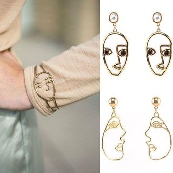 LMFXF7 Hollow open face mask bracelet and earrings set