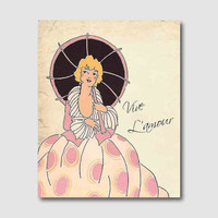 Wall Art - Tally Girl - Art Deco - Vive L'amour - Long live love - French Phrase - 8 x 10 - Parasol - Room Decor
