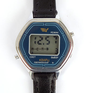 Hexagon digital watch. Vintage ladies watch Elektronika 5. LCD watch for women. Womens quartz watch. Retro digital watch for women.