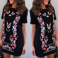 Streetstyle  Casual Black Floral Print Round Neck Short Sleeve Vintage Mini Dress