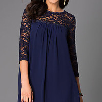 Short Shift Dress with Lace 3/4 Length Sleeves