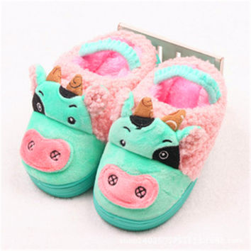 New Children slippers Home Children Baby Cotton Slippers Warm Slippers Half A Pack Of Pig Meng Meng Paternity Shoes TCCS6010