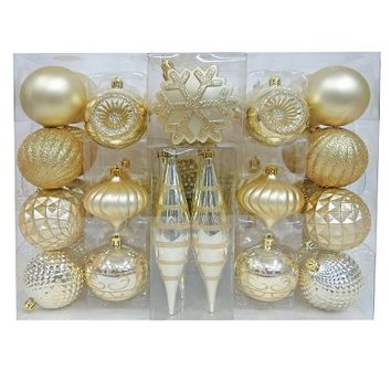 40ct Fashion Gold Shatterproof Christmas Ornament Set - Wondershop™