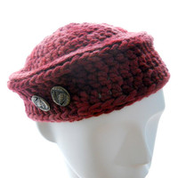 Hand crochet hat, women's wine beanie hat, wool-silk crocheted hat, hand-painted yarn hat,  winter fashion, extra small to small hat