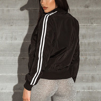 Black Striped Bomber Jacket