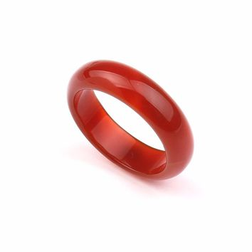 YYW Real Natural Agata Stone Wedding Round Rings for Women Men Lover Christmas Gifts Natural Stone Punk Circle Ring Jewelry